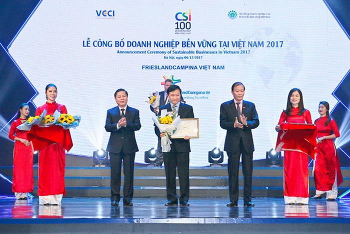 Ngày 06/12/2017 tại TP. Hà Nội, FrieslandCampina Việt Nam đã vinh dự được trao danh hiệu Top 100 Doanh nghiệp bền vững 2017
