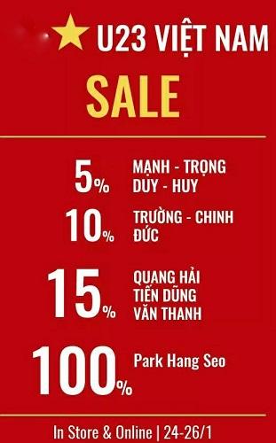 Một cửa hàng giảm giá tới 100% cho ai tên là Park Hang Seo. (Nguồn: Facebook)