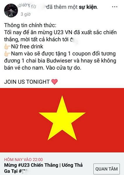 Một club miễn phí đồ uống và vé vào cửa cho khách hàng để ăn mừng chiến thắng U23 Việt Nam hôm nay. (Nguồn: Facebook)