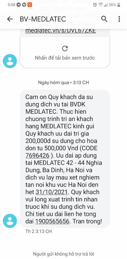 """Tin nhắn về chương trình """"tri ân khách hàng"""" của Bệnh viện Medlatec."""