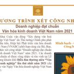 """Chương trình xét công nhận Doanh nghiệp đạt chuẩn """" Văn hóa Kinh doanh Việt Nam """"năm 2021"""