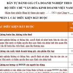 """Bản tự đánh giá của Doanh nghiệp theo Bộ tiêu chí """" Văn hóa Kinh doanh Việt Nam"""""""